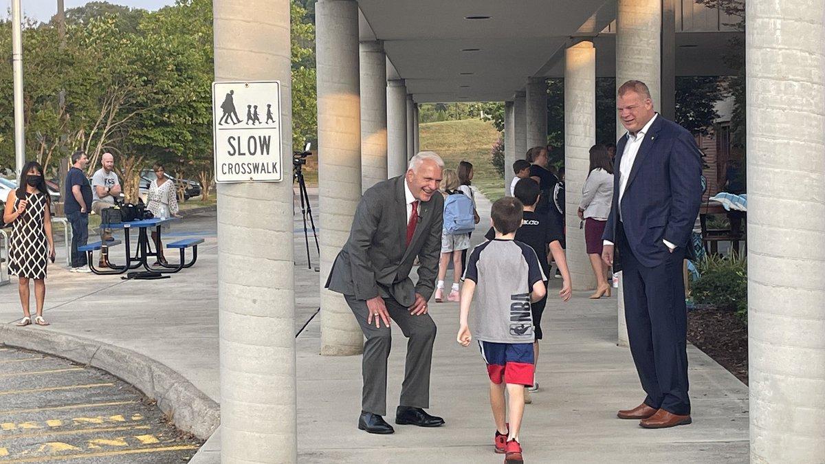Knox County Schools Superintendent Bob Thomas and Mayor Glenn Jacobs greeted students at...