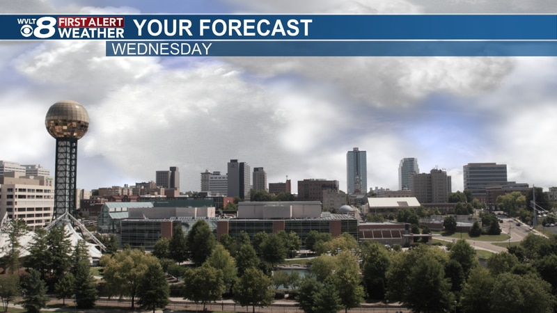 Scattered showers to cooler air blowing into town today.
