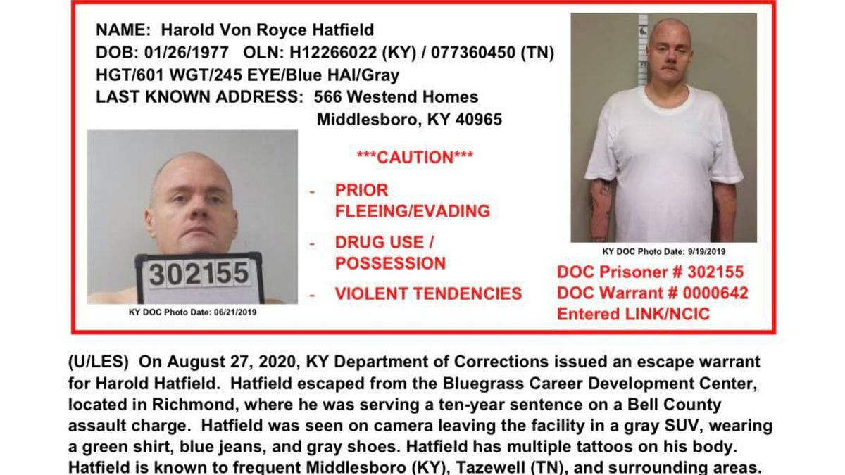 Kentucky escapee is on the run in East Tenn.