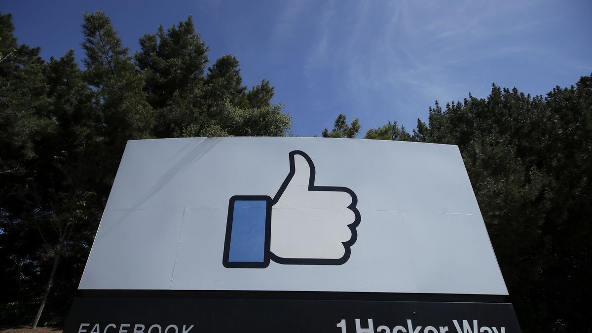 "The thumbs up Like logo is shown on a sign at Facebook headquarters in Menlo Park, Calif., Tuesday, April 14, 2020. Facebook has deleted a post by President Donald Trump for the first time, saying it violated its policy against spreading misinformation about the coronavirus. The post in question featured a link to a Fox News video in which Trump says children are ""virtually immune"" to the virus. Facebook said Wednesday, Aug. 5, 2020 that the ""video includes false claims that a group of people is immune from COVID-19 which is a violation of our policies around harmful COVID misinformation."""