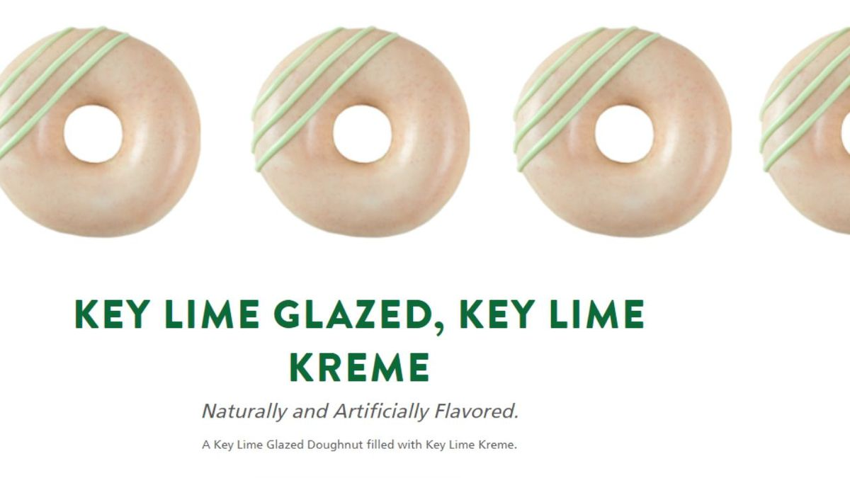 The Key Lime Kreme Filled and Key Lime Glazed doughnut options will be available Tuesday May 5 through Friday May 8 only. / SOURCE: Krispy Kreme Doughnuts