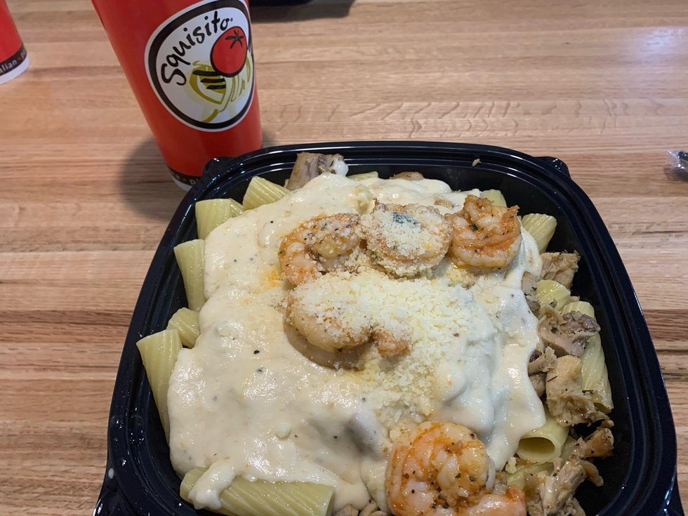 New restaurant features italian favorites including this Chicken & Shrimp Alfredo.