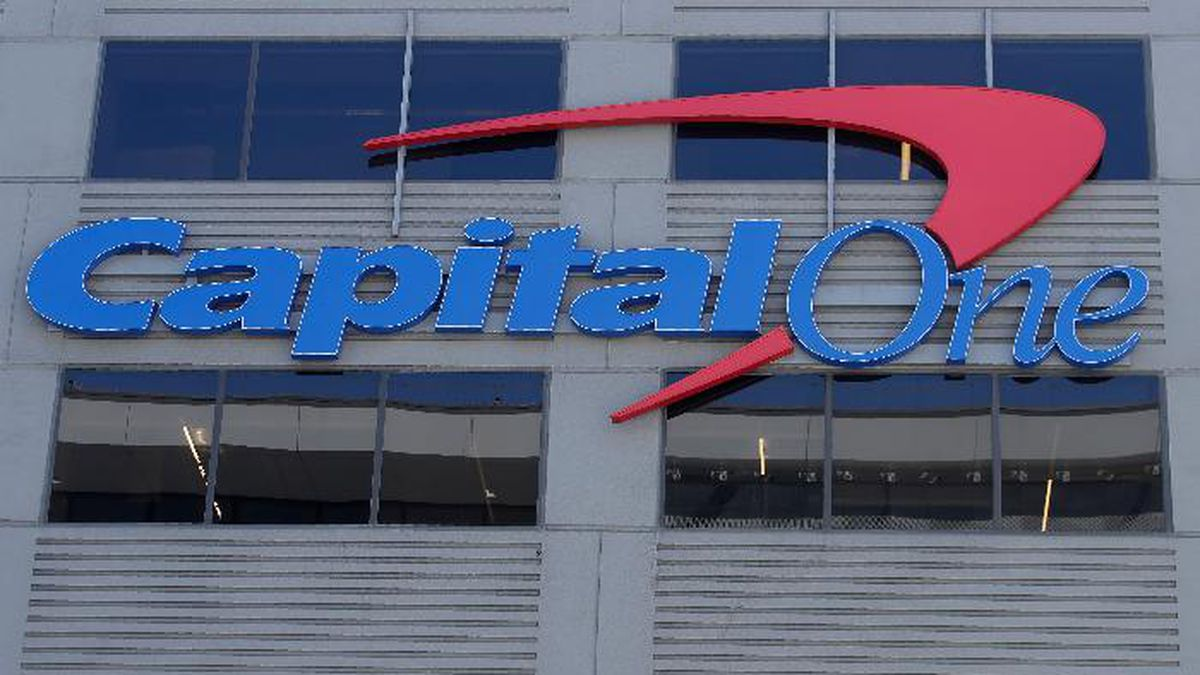 A Capital One sign is shown at a location in San Francisco, Tuesday, July 16, 2019. (AP...