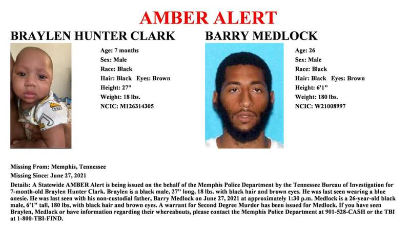 The Tennessee Bureau of Investigation issued an AMBER Alert for a 7-month-old on behalf of the...