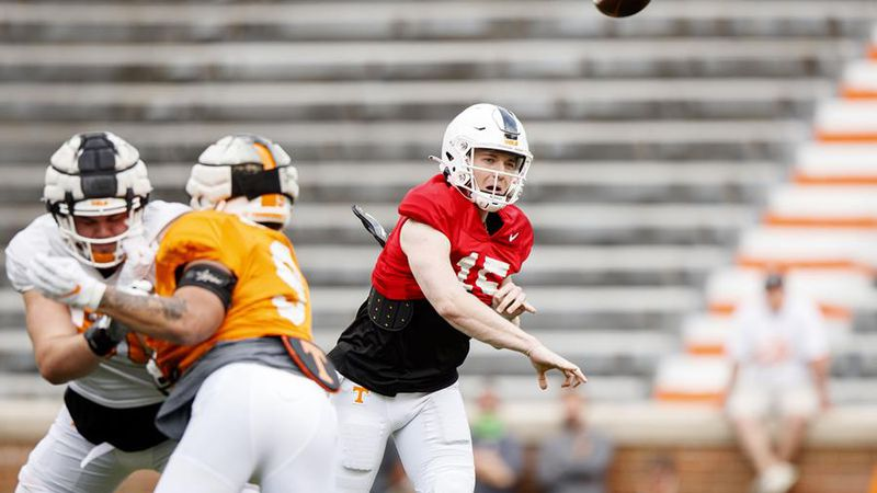 KNOXVILLE, TN - April 08, 2021 - Quarterback Harrison Bailey #15 of the Tennessee Volunteers...