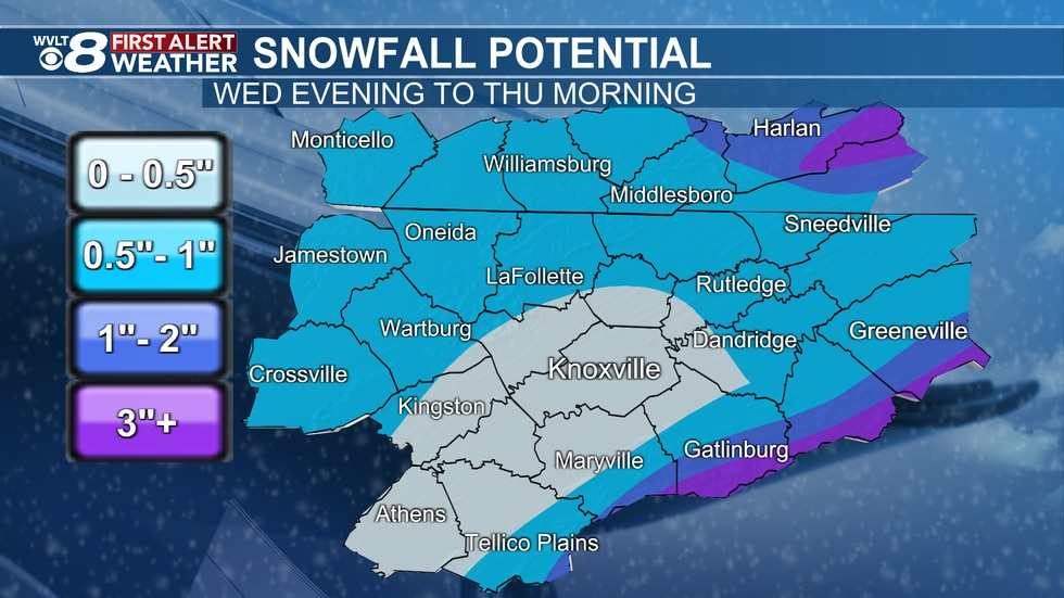 Snow potential Wednesday to Thursday.