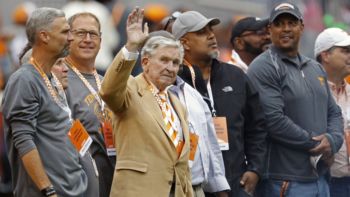 FILE - In this Oct. 12, 2019, file photo, former Tennessee head football coach Johnny Majors...