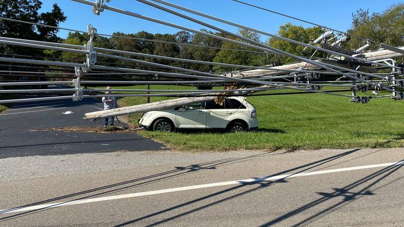 Road in Alcoa closed after car hits utility pole