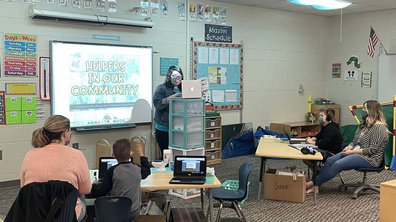 Students learn virtually and in person in Ms. Alex's class