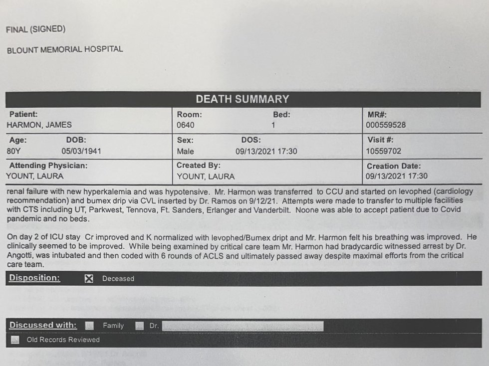 """According to Jack's death summary, """"Attempts were made to transfer to multiple facilities with..."""