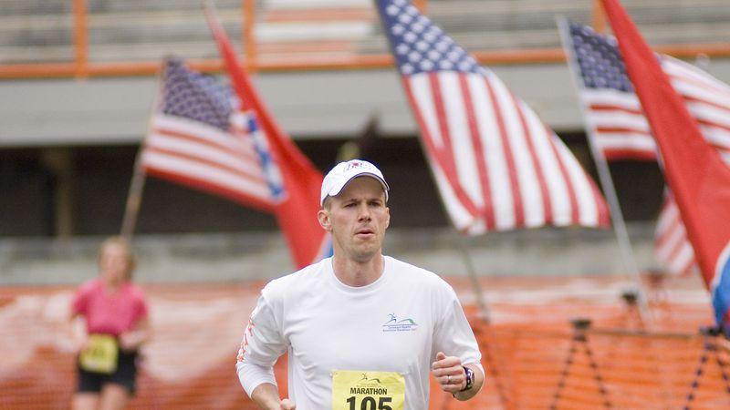 Mark Conley running in a full marathon