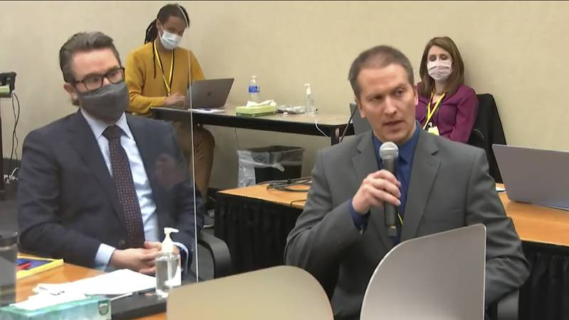 In this April 15, 2021, file image from video, defense attorney Eric Nelson, left, and...