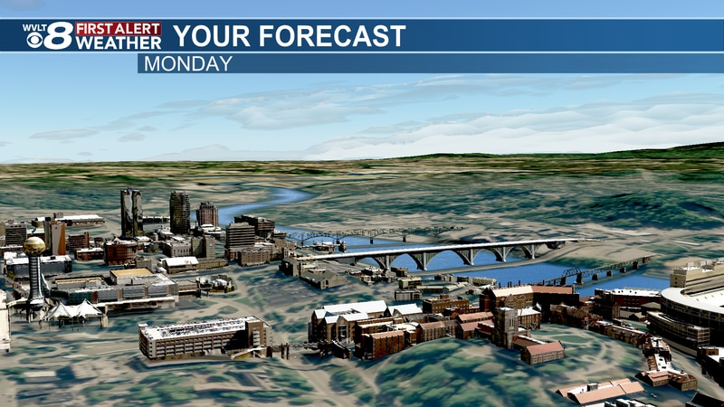 Few more clouds Monday.