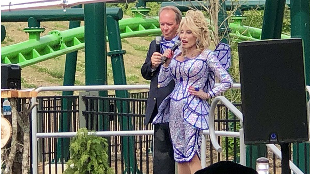 Dolly Parton introducing the new Wildwood Grove./ Source: WVLT