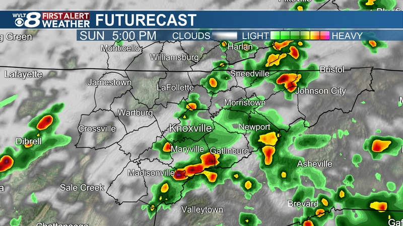 Spotty to scattered storms Sunday