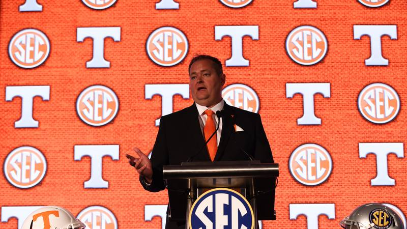 University of Tennessee head coach Josh Heupel speaks to the media during the 2021 SEC Football...
