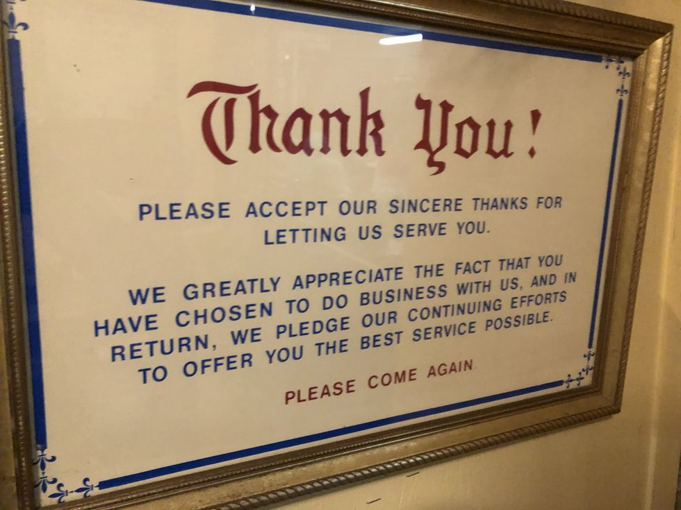 When customers exit the restaurant they're thanked one final time.
