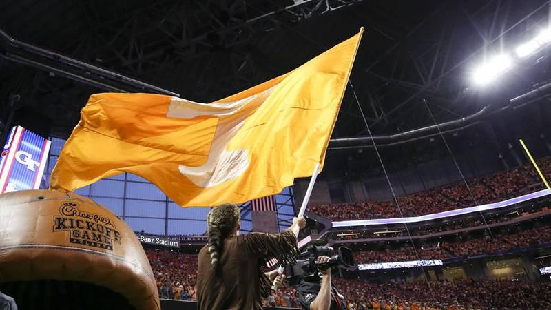 ATLANTA, GA - SEPTEMBER 04, 2017 - Power T flag during the Chick-Fil-A Kickoff game between the...