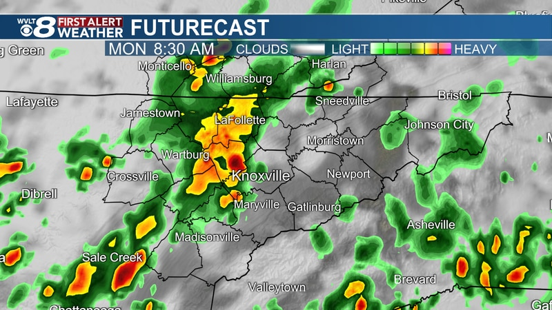 Heavy downpours Monday morning