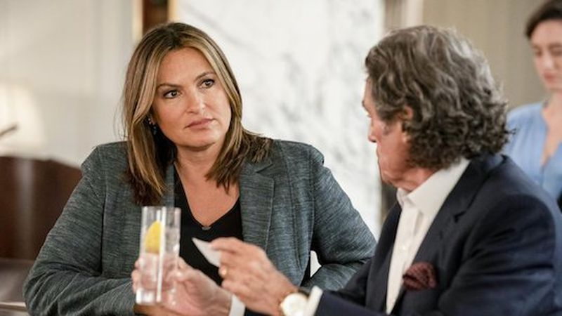 This image released by NBC shows Mariska Hargitay, left, and Ian McShane in a scene from...