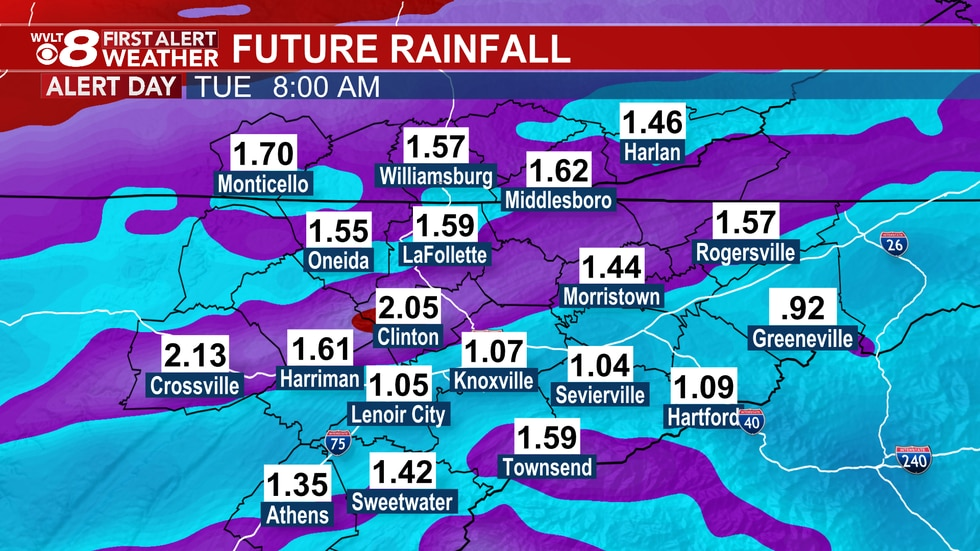Monday comes with much heavier rainfall potential.