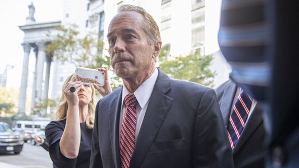 Former U.S. Rep. Chris Collins arrives at Federal court, Tuesday, Oct. 1, 2019, in New York....