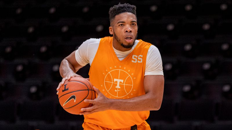 KNOXVILLE, TN - DECEMBER 04, 2020 - Forward E.J. Anosike #55 of the Tennessee Volunteers during...