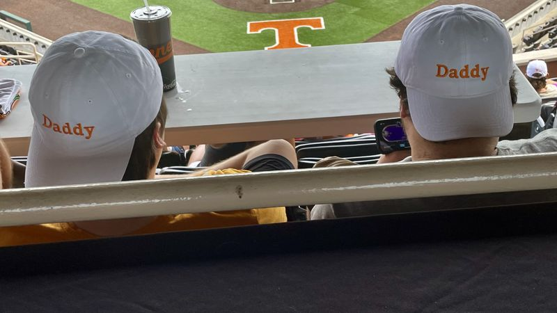 Tennessee baseball fans at College World Series Watch Party inside Lindsey nelson Stadium