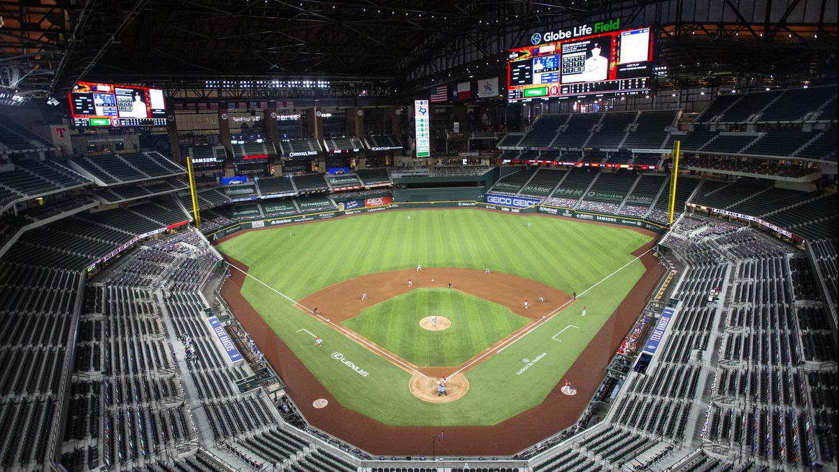 Globe Life Field is viewed during the fifth inning of a baseball game between the Texas Rangers and the Los Angeles Dodgers, Saturday, Aug. 29, 2020, in Arlington, Texas.