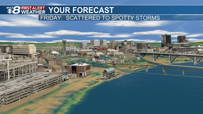 Scattered to spotty storms Friday