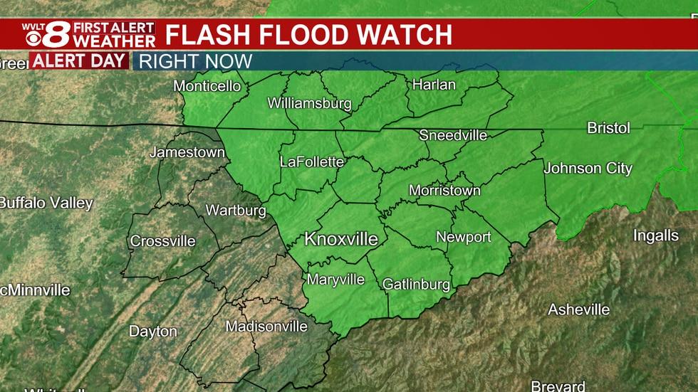 The Flash Flood Watch lasts until midnight