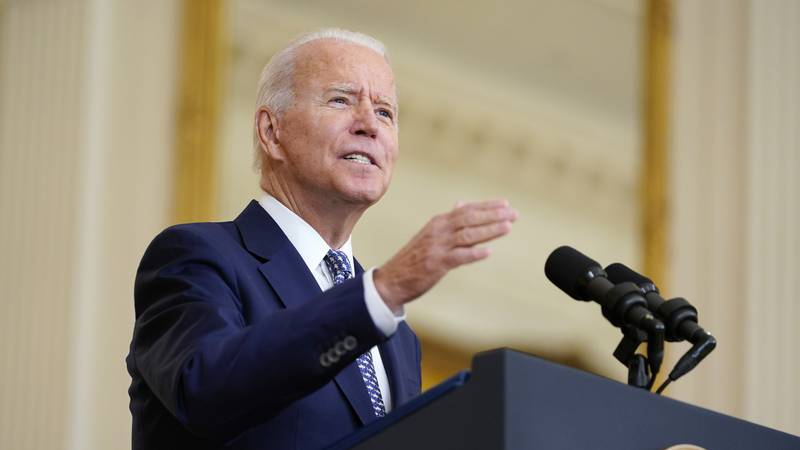 FILE - President Joe Biden speaks about the bipartisan infrastructure bill from the East Room...