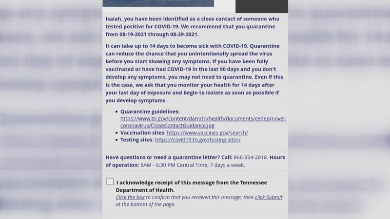 COVID exposure notice for Miller's grandson
