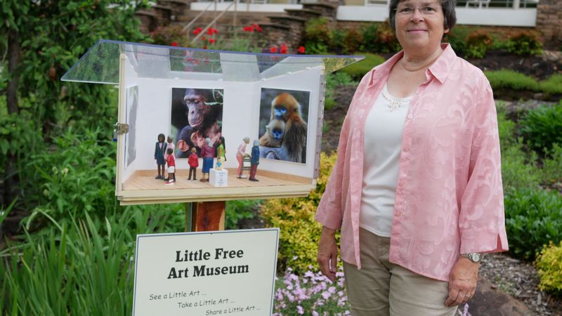 Nancy Starr with her Little Free Art Museum in Oak Ridge, TN on Wednesday, May 5, 2021 /...