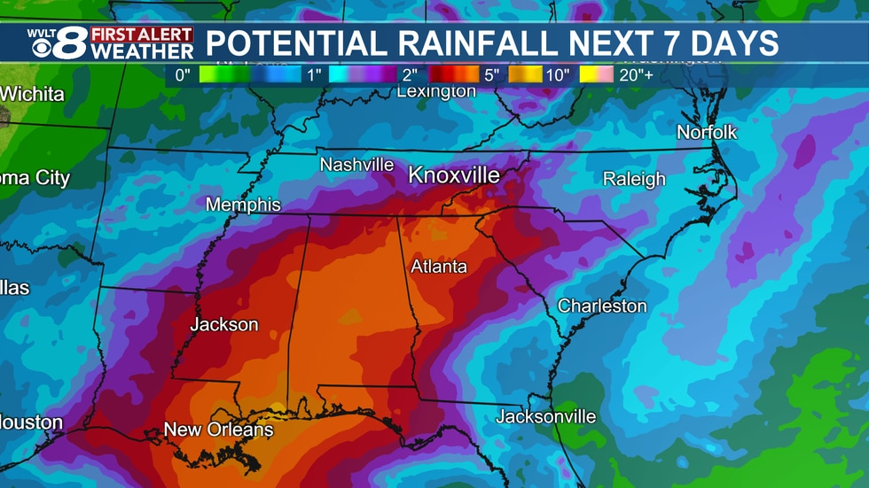 The tropical rain glides up the Gulf Coast through the weekend, bringing downpours for some on...