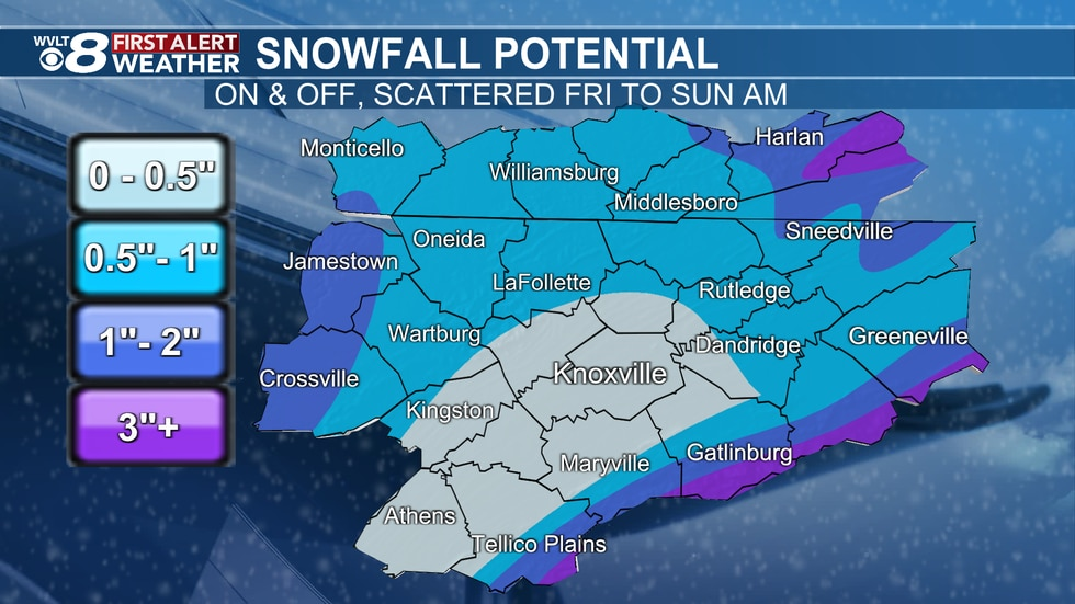 Snowfall potential from scattered, on and off snow showers.