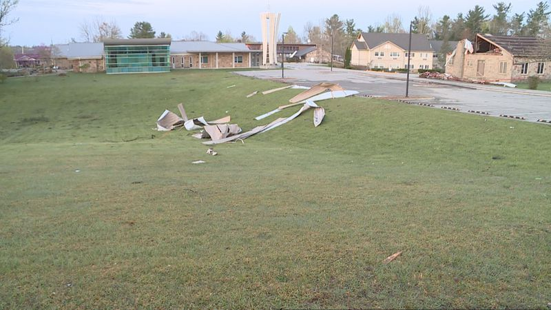 View of the Pleasant Hill Community Church campus after tornado touches down in the area.