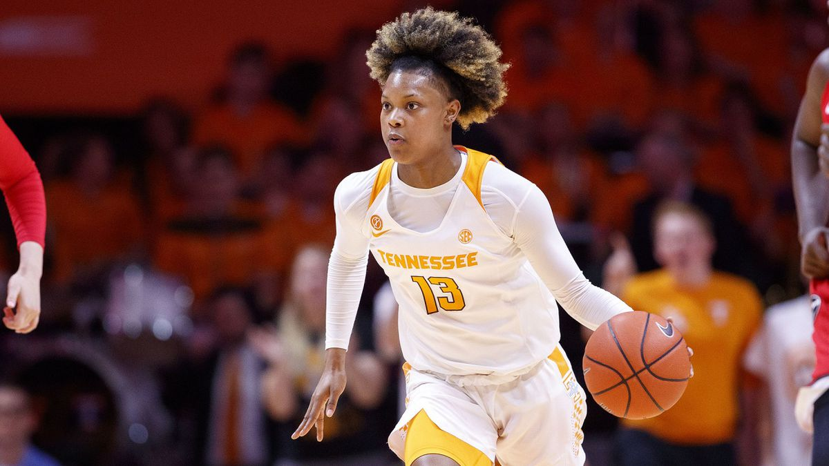 KNOXVILLE, TN - JANUARY 12, 2020 - Guard Jazmine Massengill #13 of the Tennessee Lady Volunteers during the game between the Georgia Bulldogs and the Tennessee Lady Volunteers at Thompson-Boling Arena in Knoxville, TN. Photo By Kate Luffman/Tennessee Athletics