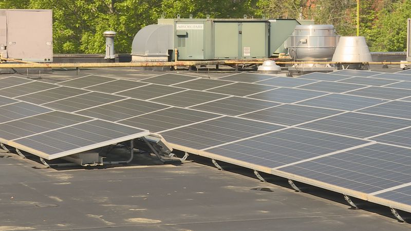 There's 874 solar panels on the roof of South Doyle Middle School
