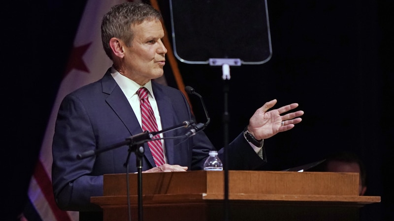 Tennessee Gov. Bill Lee delivers his State of the State Address in War Memorial Auditorium,...