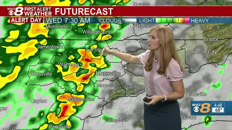 Cold front brings in heavy rain.