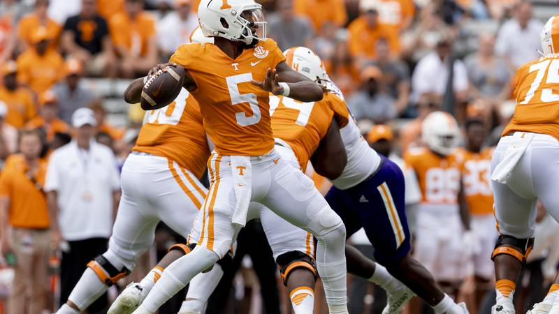 KNOXVILLE, TN - September 18, 2021 - Quarterback Hendon Hooker #5 of the Tennessee Volunteers...