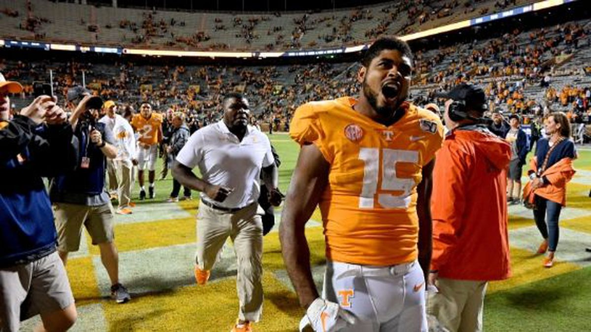 Tennessee wide receiver Jauan Jennings (15) yells to fans as he leaves the field following their 41-21 win over South Carolina Saturday, Oct. 26, 2019. Michael Patrick/WVLT