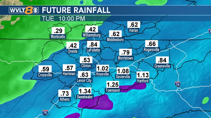 Between a half inch and an inch and a half of rainfall is possible through Tuesday.
