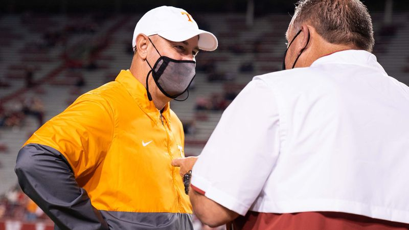 Pruitt and Pittman speak after the game in Fayetteville on November 7, 2020.