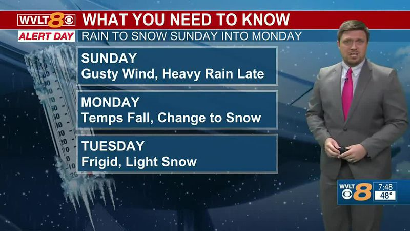 Heavy rain will transition over to light snow late Sunday into Monday.