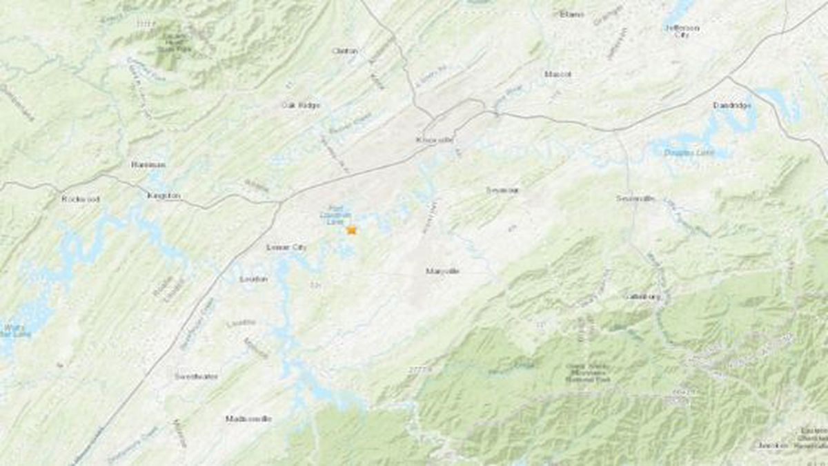 A magnitude 2.2 earthquake shook Farragut Saturday night. / (USGS)