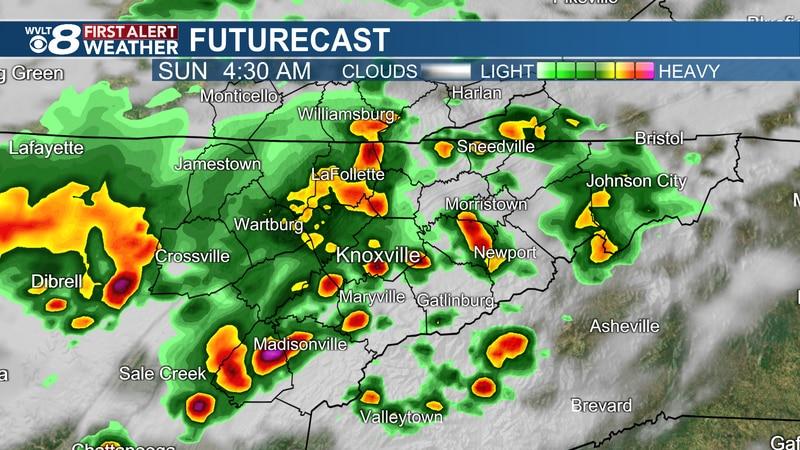 Pockets of heavy rain overnight into Sunday morning