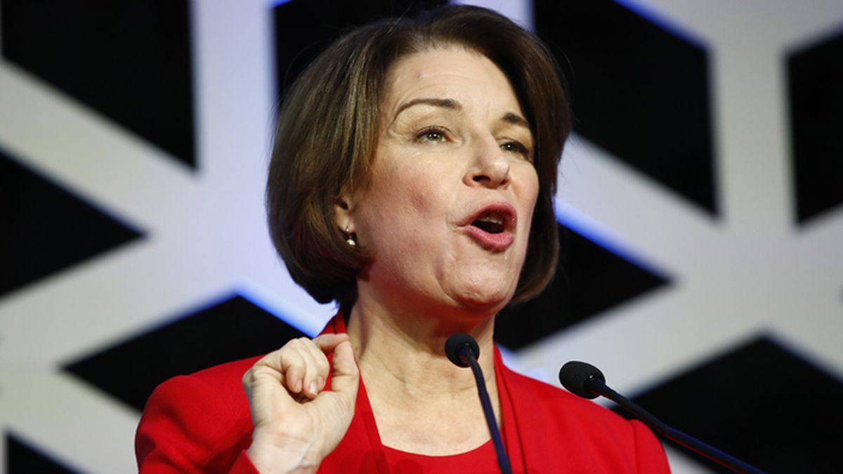 Democratic presidential candidate Sen. Amy Klobuchar, D-Minn., speaks at the North Carolina...