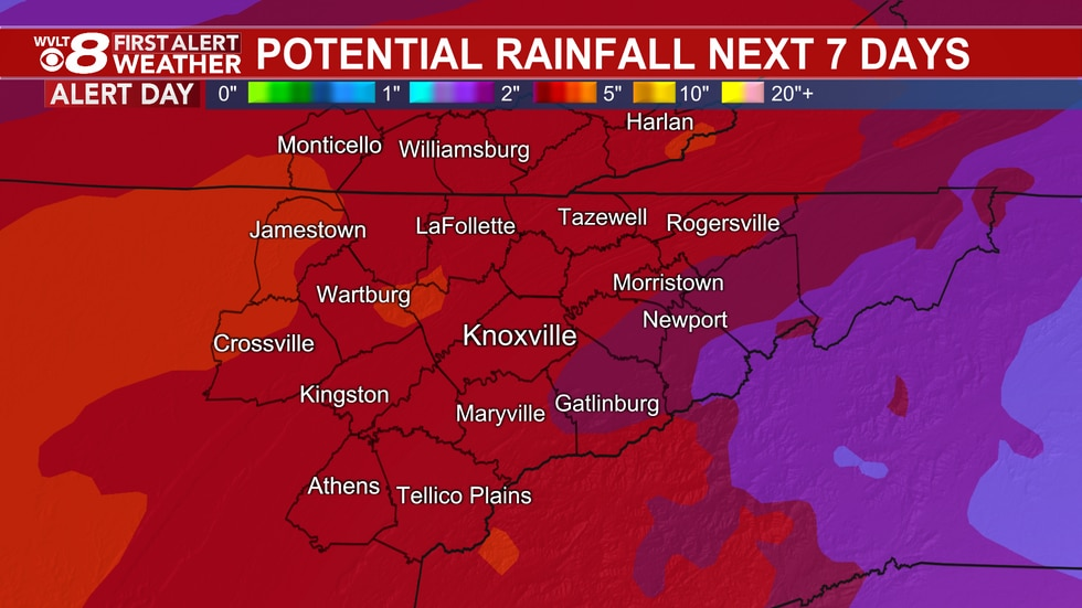 Waves of rain lead to flooding risks.